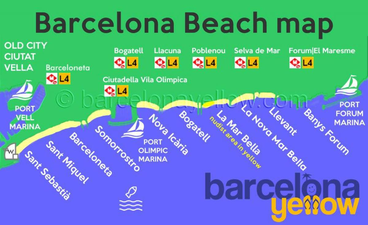 kaart van barcelona beach resorts